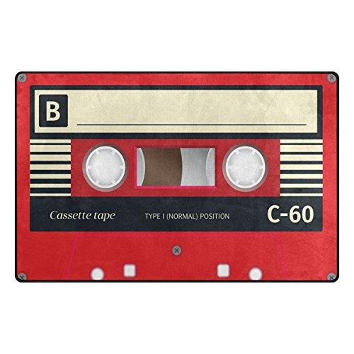Benni giry Retro Audio Cassette Music Rango Alfombra antideslizante Diario de DF920felpudos para salón dormitorio 78,7x 50,8cm, poliéster, multicolor, 60 x 39 inch