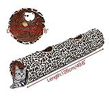 PAWZ Road Katzentunnel im Leoparden-Design 2 Wege Faltbar Rascheltunnel mit Spielball für Katzen Kätzchen Kaninchen Welpen Kleintiere Durchmesser:25cm