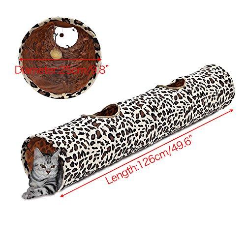 PAWZ Road PAWZ Road Cat Tunnel Leopardo Imprimir Crinkly Cat Fun 2 Agujeros Long Tunnel Kitten Juguetes 126x25cm