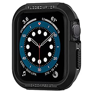 Spigen Rugged Armor Cover Case Compatible with Apple Watch Series 7 (41mm) | Series 6 | SE | Series 5 | Series 4 (40mm) - Black