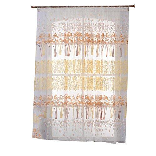 NACHEN Tüll Tür Fenster Zimmer Vorhang Frische Bildschirme durch Garn Drapieren Sie Panel Sheer Blackout Vorhänge, Yellow, 100 * 250cm