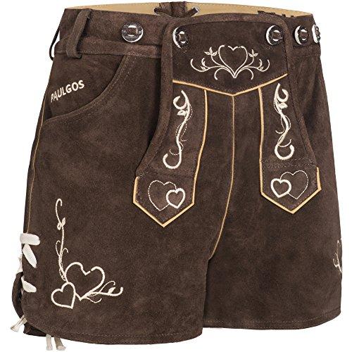 PAULGOS Damen Trachten Lederhose + Träger, Echtes Leder, Sexy Kurz, Hotpants in 2 Farben Gr. 34-42 H2