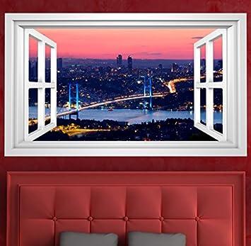 3D Wandmotiv Fenster Istanbul Brcke Trkei Bildfoto Wandbild Wandsticker Wandtattoo Wohnzimmer Wand Aufkleber 11E329 Grsse Eca