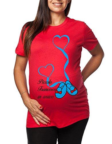 Tshirt lunga da donna ideale per il premaman maschietto Piccolo Francesco in arrivo - tshirt simpatiche e divertenti - humor Rosso