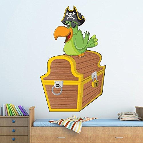 parrot-treasure-chest-fun-pirata-colore-wall-sticker-bambini-decalcomanie-art-decor-disponibile-in-8