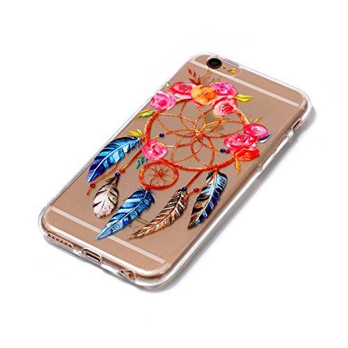 Cover iPhone 5 5S SE, E-Unicorn Custodia Cover Apple iPhone 5 5S SE Trasparente con Disegni Fenicotteri 3D Silicone Morbido TPU Gomma Morbida Colorate Ultra Slim Bumper Case Retro Elegante Modello Pro Piuma Campanula Cacciatore di Sogni