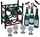Unbekannt 14 tlg. Set: Miniaturen Weinregal aus Metall + 6 Flaschen Wein + 4 Weingläser + Flaschenöffner - Flaschenregal - Getränk Limonade Saft Regal / Puppenhaus Pupp..