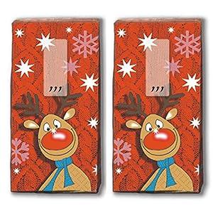 20 Taschentücher (2x 10) Taschentücher Mit der roten Nase/Rentier / Winter/Weihnachten