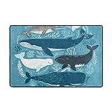 ALAZA Wale Seekoralle Bereich Teppich 4 x 6 Feet, Wohnzimmer Schlafzimmer Küche Dekorative