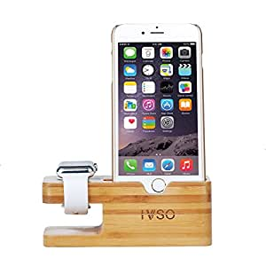 apple armbanduhr st nder ivso aluminium bambus charging dock apple watch charging stand. Black Bedroom Furniture Sets. Home Design Ideas