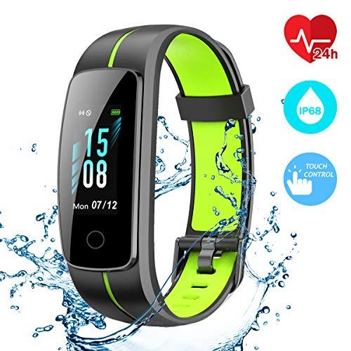 CHEREEKI Fitness Armband [Verbesserte Version], Fitness Tracker IP68 Wasserdichter Pulsmesser Smart Watch