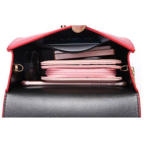Myymee Donna Sacchetto del Messaggero della spalla con la Catena di modo Piccolo Sacchetto Quadrato Rosa