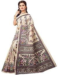 Tagline Women's Cotton Saree With Blouse Piece (Tag70012,Blue,Free Size)