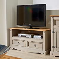 Home Source Corona Grey Two Tone TV Stand 2 Drawer Televsion Cabinet Solid Wood Pine Unit