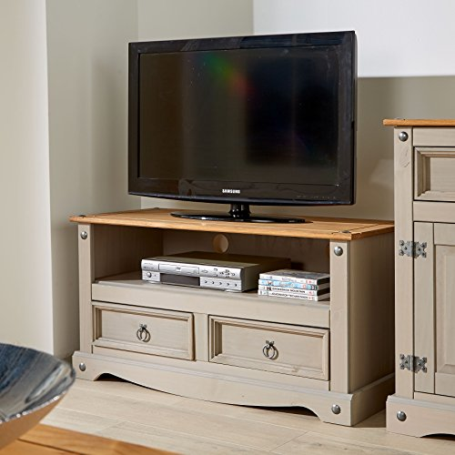 Corona Grey Two Tone TV Stand 2 Drawer Televsion Cabinet Solid Wood Pine Unit