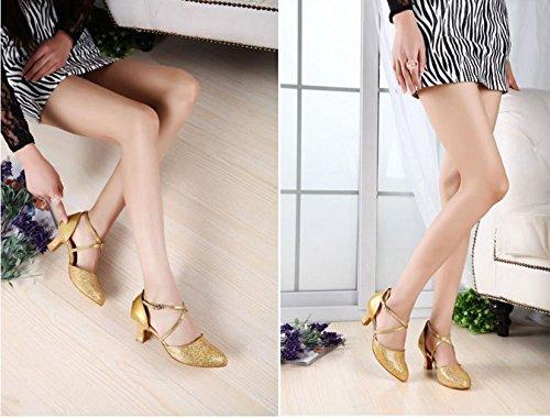 TMKOO& chaussures fines paillettes creuses doux chaussures de fond longue amitié internationale avec des chaussures de danse de danse latine chaussures juste ( Color : Gold , Taille : 39 ) Gold