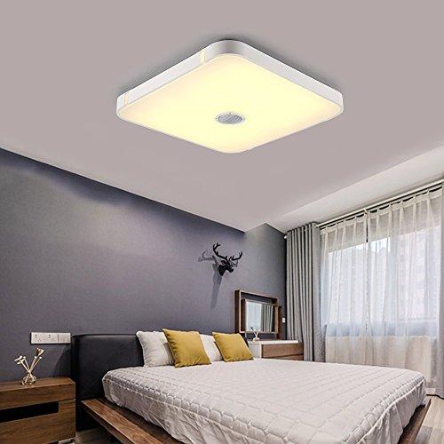 Preisvergleich Produktbild Bluetooth Deckenleuchte Dimmbar mit Fernbedienung and Bluetooth Lautsprecher 24W für Wohnzimmer,  Schlafzimmer,  Küche und Esszimmer (Weiß) Natsen N-10507B-24W-LY