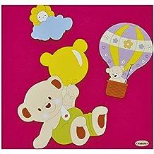 Fabula Linea Mongolfiera - Album Portafoto Diario Nascita formato 19x25 cm 28 pagine - applicazioni in Legno - Cod. 1644 - Copertina colore Tessuto 183 Fucsia