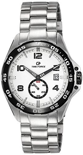 Time Force TF3327M02M - Reloj analógico de cuarzo para hombre con correa de acero inoxidable, color plateado
