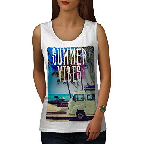 Sommer Stimmung Stimmung Urlaub Thema Damen S2XL Muskelshirt Wellcoda Weiß