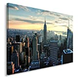 Feeby, Wandbild - 1 Teilig - 80x120 cm, Leinwand Bild Leinwandbilder Bilder Wandbilder Kunstdruck, EMPIRE STATE BUILDING, NEW YORK, ARCHITEKTUR, BLAU