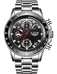 Reloj, relojes para hombre, reloj de pulsera de cuarzo analógico de lujo de acero inoxidable, vestido impermeable multifunción de diseño para el negocio, para hombres
