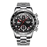 Reloj, relojes para hombre, reloj de pulsera de cuarzo analógico de lujo de acero inoxidable...