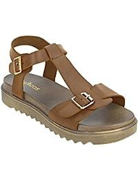 ESTATOS Etashee Faux Leather Open Toe T Strap Buckle Closure Brown Platform Heel Dark Brown Sandals For Women