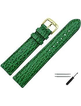 Uhrenarmband 26mm Leder Grün Haifisch Prägung, Mit Naht - Inkl. Federstege / Werkzeug - Marburger Uhrband In Hai...