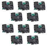 10x Schriftband-Kassetten TZ-751 TZe-751 schwarz auf grün (24mm x 8m) kompatibel für Brother P-Touch PT-2430PC 3600 9600 9700 9800 D600VP D800W E300VP E550WVP E850 H500 H500LI P700 P750W P750WVP