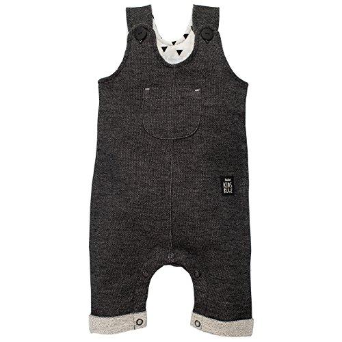 Pinokio - Happy Day- Overall - Baby, Mädchen, Jungen - 100% Baumwolle - Schwarz mit weißer Struktur, Latzhose mit Knöpfen Unisex (80)
