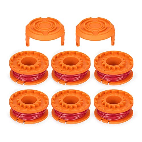 Alaojie 6pcs Cordless Trimmers Line Spools with 2 cap Covers Kit Durable for Worx GT Trimmer