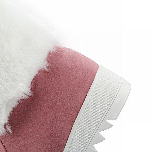 MissSaSa Donna Scarep col Tacco Zeppa Basso Dolce Stivali da Neve Rosa
