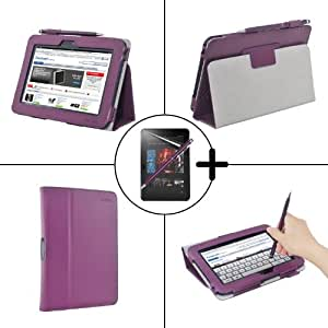 "TeckNet New Amazon Kinde Fire HD 7"" Inch Tablet Premium Folio Case Cover and Flip Stand With Built-in Magnet for Auto Sleep/Wake Feature Included Screen Protector and Stylus Pen Purple"