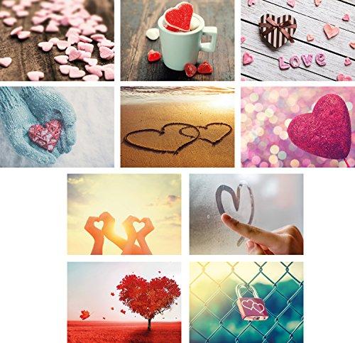 20 Liebes-postkarten im Set (10 Motive mit jeweils 2 Postkarten), Love-cards, Liebe, Herzen, Hochzeit
