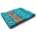 Retal de tela de Guipur color turquesa y beige 132 x 60 cm