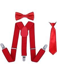 Brand New Bright Red Skinny Elastic Neck Tie Necktie Boys Kids 1-6 Years Old