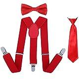 Kinder Hosenträger Fliege Krawatte Set - Verstellbare Elastische Mode Kleidung Accessoire für Jungen und Mädchen (Heißes Rot)