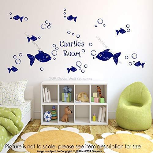 42 Blase Fisch Wandaufkleber personalisierte Name Kinderzimmer Wand Dekor abnehmbare Vinyl Wandtattoos - Zeitgenössische-glas-wand