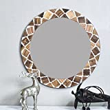 Casa Decor Enlope Di Lis Mirror Wall Hanging Wooden Wall Decor Round Shape For Living Room, Bedroom, Kids Room