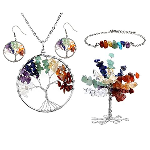 JSDDE 7 Chakra Healing Crystals Jewelry Decor Set - 7 Chakra Wire Wrap Tree of Life Tumbled Stones Pendant Necklace & Earrings & Crystal Money Tree & 7 Chakra Gemstone