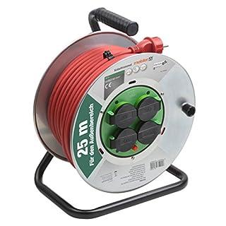 Meister Kabeltrommel H07RN-F3G1,5, IP44 - 25 m Kabel - Thermoschutz-Schalter - Outdoor / Kabelrolle mit 4 Schuko-Steckdosen / Kabelbox mit Verlängerungskabel / Leitungsroller mit Kurbel / 7435880