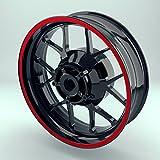 OneWheel Felgenrandaufkleber 10mm Motorrad & Auto (15-19 Zoll) - Farbe wählbar - 10 Felgenstreifen für Vorder- & Hinterreifen (Rot)