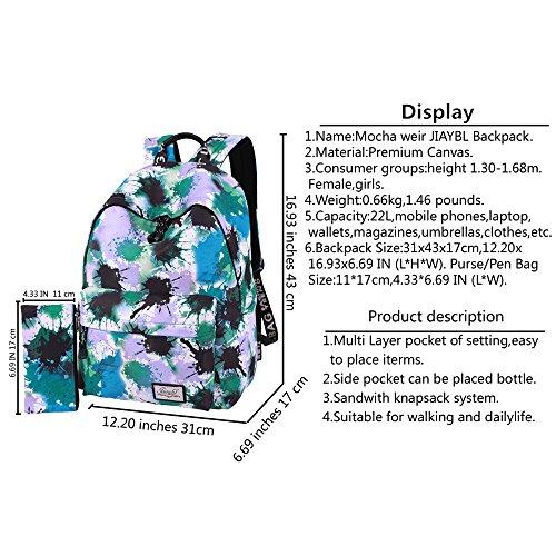 Mocha weir JIAYBL Laptop Taschen Schultern Kinder Schultaschen Rucksack Hochschule Mädchen Canvas Pack reisen (Graue Blätter) grau
