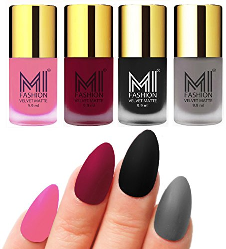 Matte Nail Polish Shades by MI Fashion®|Baby Pink Matte Nail Polish|Mauve Matte Nail Polish|Black Matte Nail Polish|Grey Matte Nail Polish Combo of 4 Pcs|9.9ml