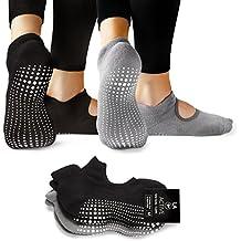 LA Active Agarre de calcetines - Yoga Pilates Ballet barra antideslizante (Noire negro y gris de polvo)