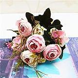 Berrose-1pc Blumenstrauss Seidenblumen Blumenstrauß für Dekoration-Gefallene Blume europäischer Stil Retro 5 Gabeln Haufen Rose-Hochzeitsfeier Wohnkultur-Deko Kunstblumen Künstliche Rose