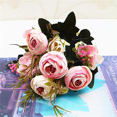 Yazidan 1 Bouquet (Fünf Blumen) Vintage Künstliche Pfingstrose Seidenblumen Bouquet zur Dekoration Künstliche Blume Blumenstrauß Für Hochzeit Party Fest Haus Büro Bar Dekor