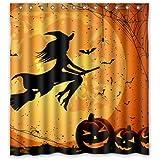 "Happy Halloween People Flying On Moon Bathroon Waterproof Cool Shower Curtain Family Choice 66""(w) x 72""(h)"