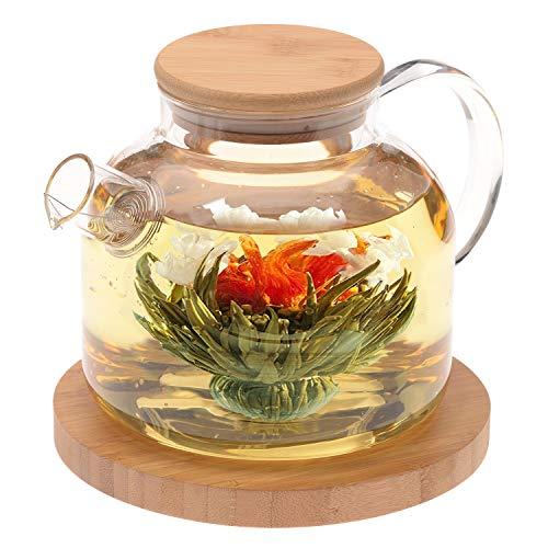 Famacart Wooden Lid Glass Teapot/Carafes & Pitchers with Bamboo Lid (1000ml) Loose Leaf Tea Filter Spout Natural Flowering Tea Gift Set/Green Tea Pot